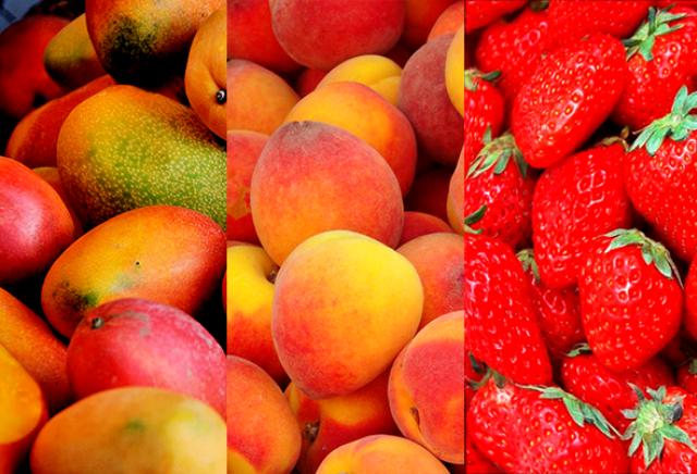 манго персики и клубника