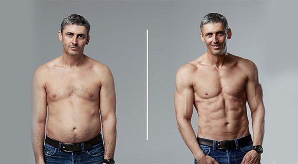 мужчина до и после программы на пресс