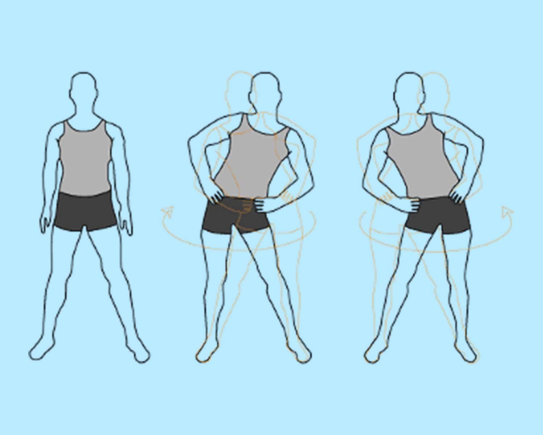 разминочное упражнение вращение тазом